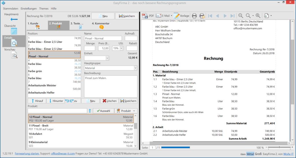 Rechnung schreiben mit der einfachen Rechnungssoftware EasyFirma 2