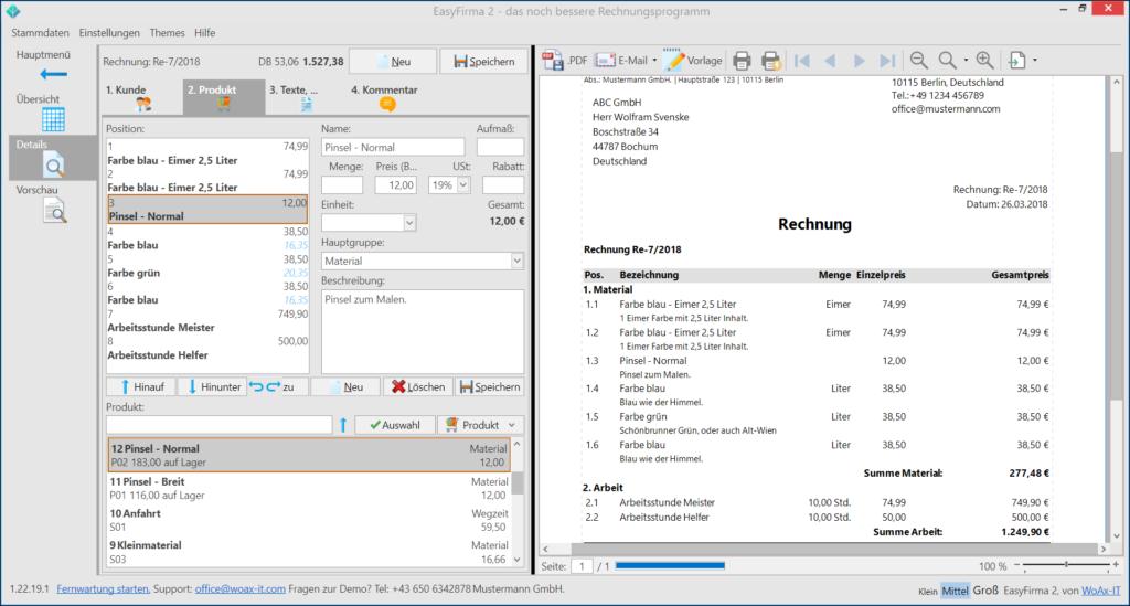 EasyFirma2-Rechnung-Produkte