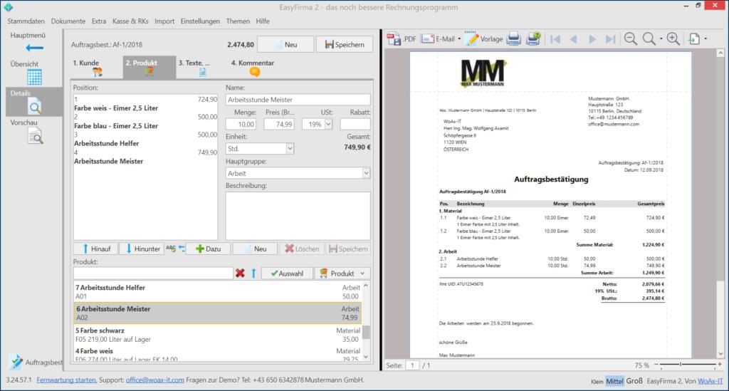 Auftragsbestätigung schreiben geht kinderleicht mit WoAx EasyFirma 2