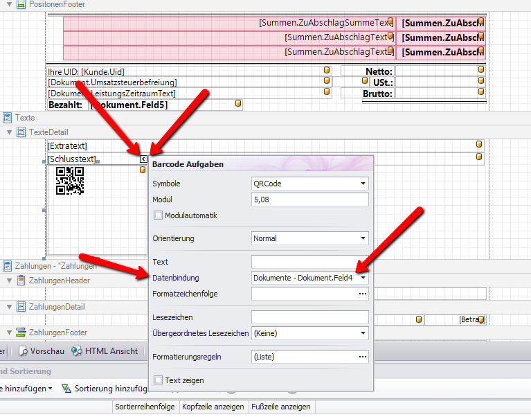 Registrierkassa-QR-Code-Datenbindung