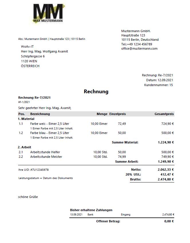 Rechnung einer Bürosoftware